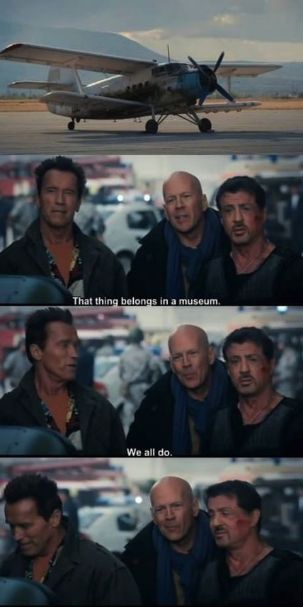 action movie star, arnold schwartzenegger, bruce willis, sylvester stallone, museum, plane