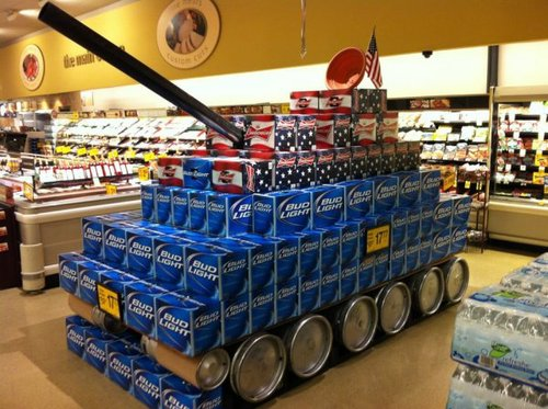 tank made out of beer cases in a grocery store, win
