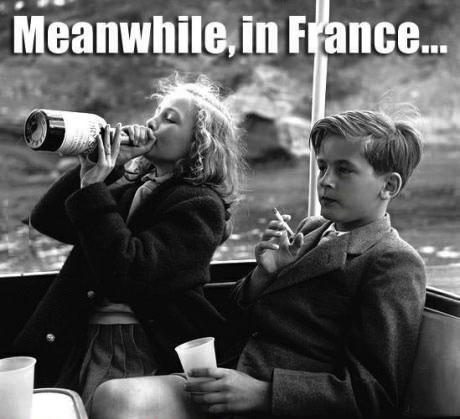 meanwhile france, wine, cigarette, kids