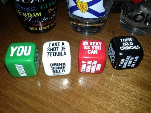 you take a shot of tequilla as sexy as you can then do 5 crunches, dice drinking game, alcohol