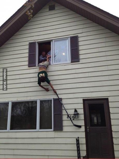 stupid, door bell ditch, window, hang