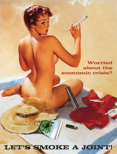 weed, joint, woman, naked, economic crisis