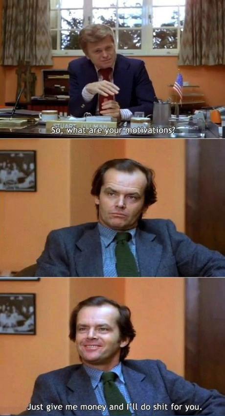 job interview, jack nicholson, money