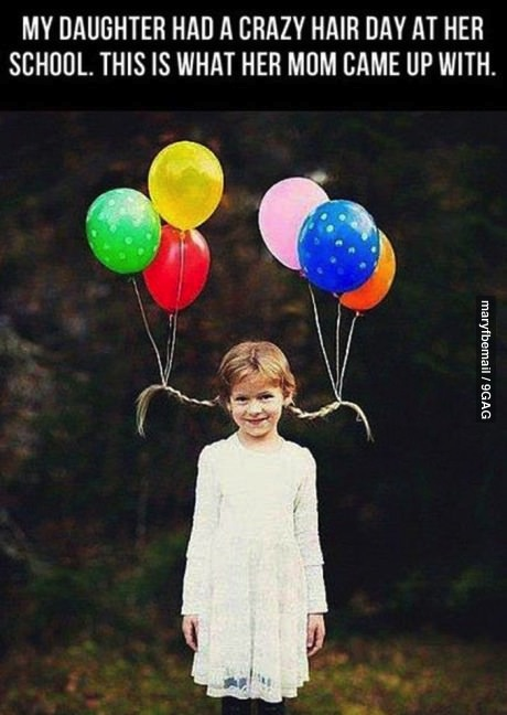 my daughter had a crazy hair day at her school, this is what her mom came up with, helium balloons tied to pigtails