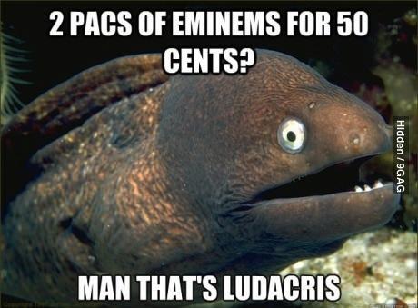 tupac, eminem, 50 cent, ludacris, joke, pun, eel