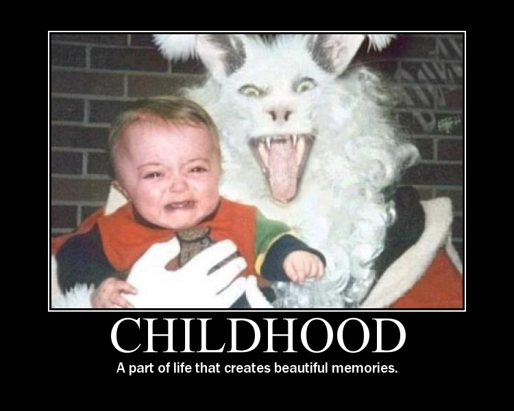 childhood, a part of life that creates beautiful memories, motivation, creepy rabbit holding crying kid