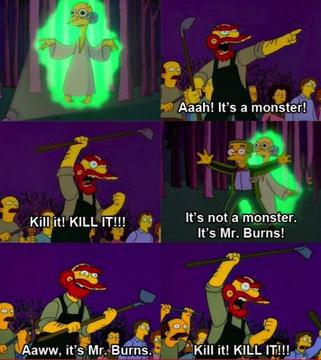 simpsons, comic, monster, mr burns, kill it