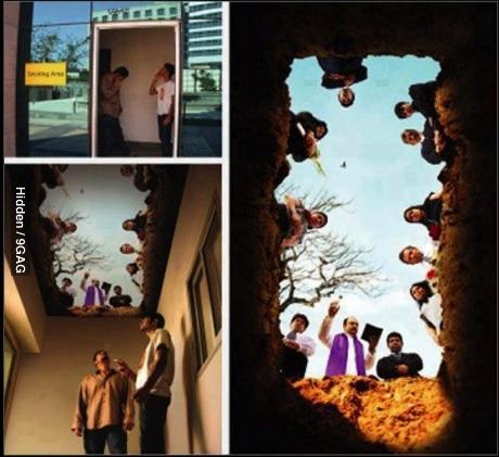 smoking, grave, ceiling art