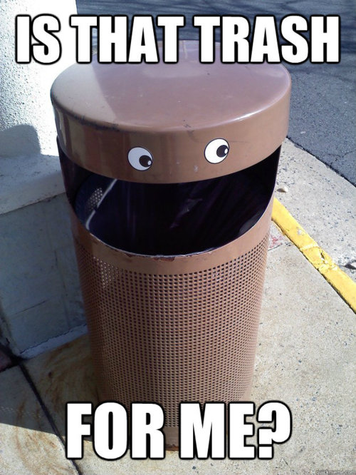 is that trash for me?, googley eyes on trash can