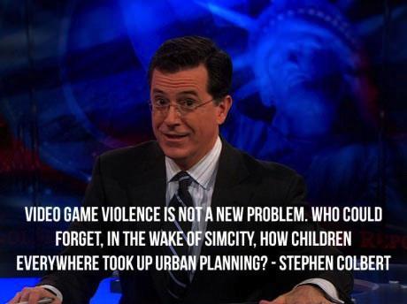 colbert, stephen, gun, violence, video game