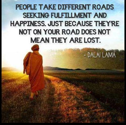 people take different roads seeking fulfillment and happiness, just because they're not on your road does not mean they are lost, dalai lama
