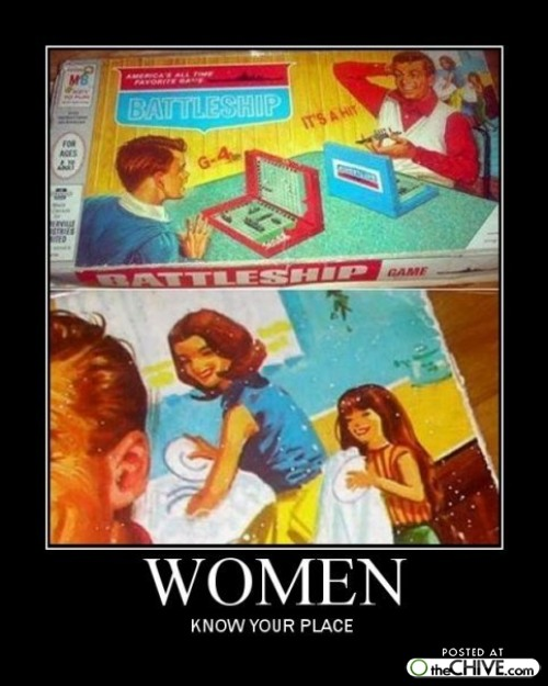 sexist, battleship, board game, motivation, woman, women