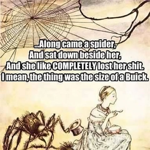 along came a spider and sat down beside her, and she like completely her shit, i mean the thing was the size of a buick