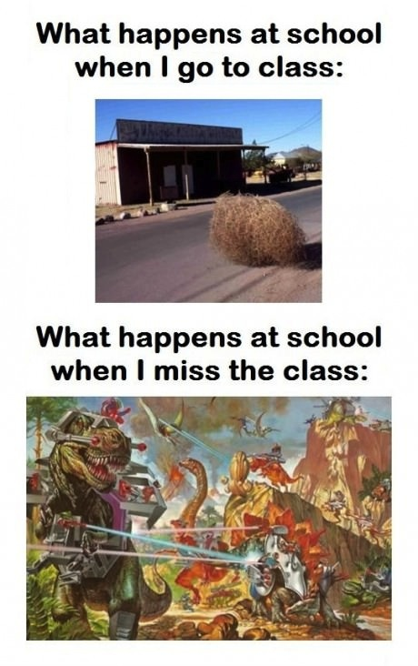 what happens at school when I go to class, what happens at home when i miss the class