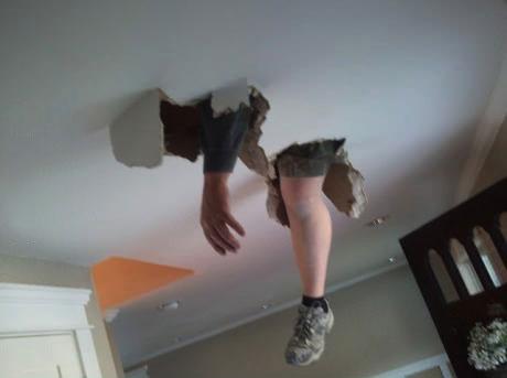 ceiling, fail, fall through