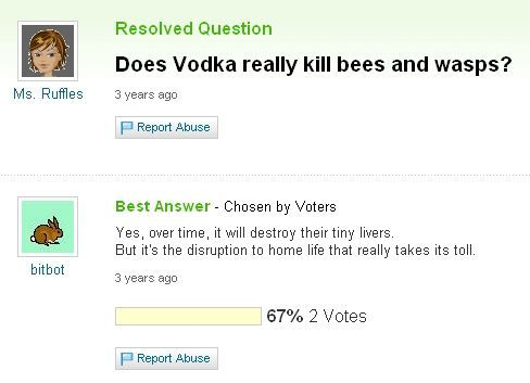vodka, bees, wasps, yahoo answers, questions, lol