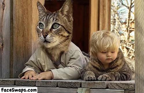 face swap, cat kid