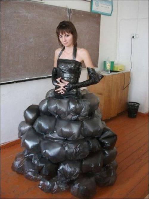 dress, wtf, plastic bags, fail