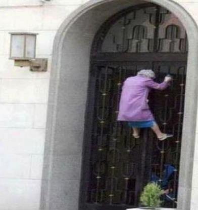 spider grandma, old, wtf, door, gate
