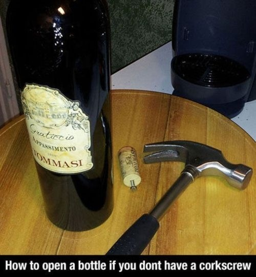 how to, wine bottle, hammer, nail, screw
