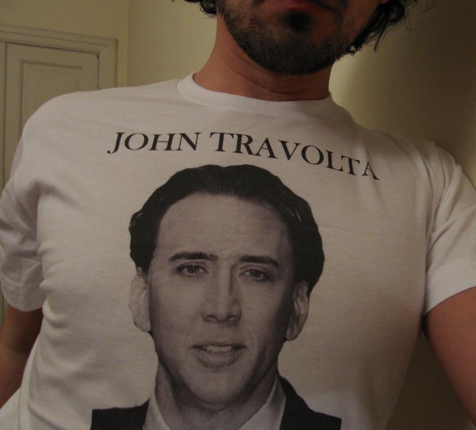 john travolta, nicolas cage, tshirt, fail
