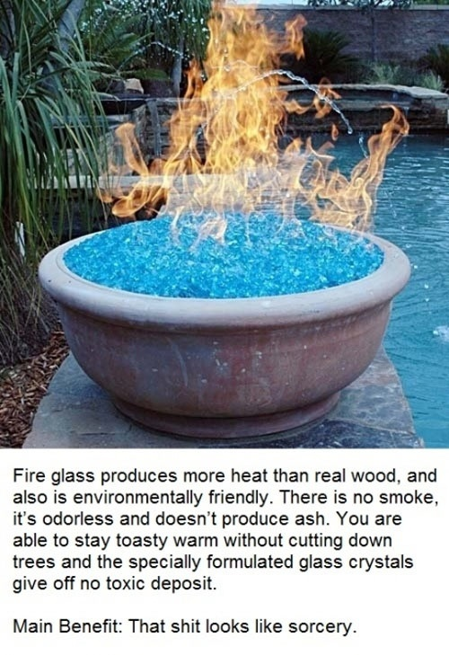 fire glass produces more heat than wood and is environmentally friendly, there's no smoke it is odorless and doesn't produce ash, that shit looks like sorcery