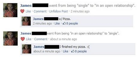 pizza, facebook, relationship status
