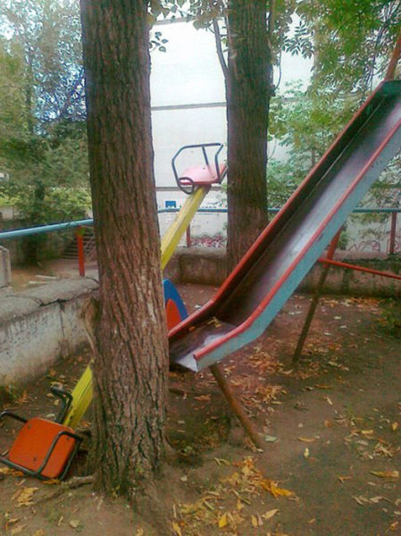 fail park, slide, tree, wtf
