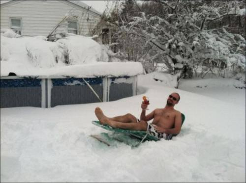 snow, lawn chair, swimming trunks, wtf