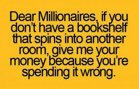 millionaires, bookshelf, secret room