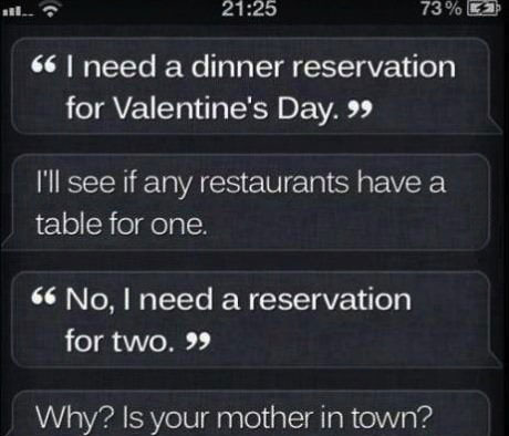 siri, diss, valentine's day, restaurant reservations, iphone
