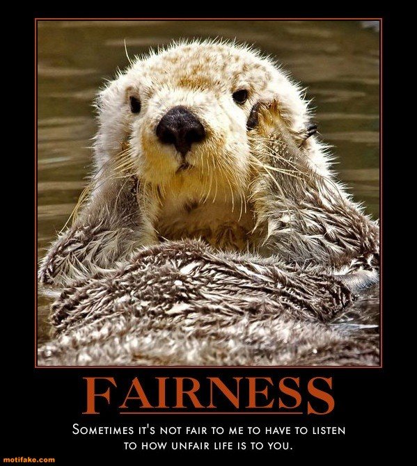sometimes it's not fair for me to have to listen to how unfair life is to you, motivation, otter, fairness, unfair, lol