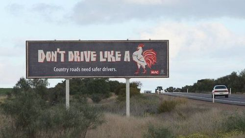 don't drive like a cock, billboard, safety, driving, win
