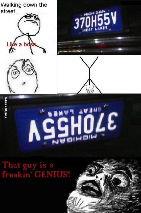 license plate, asshole, meme