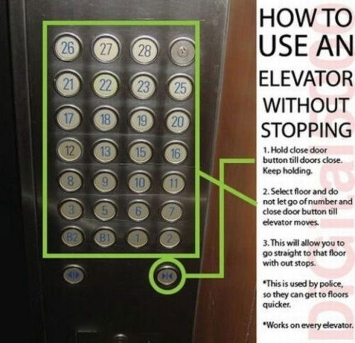 how to use an elevator without stopping, hold close door button till doors close, select floor and do not let ho of number and close door button till elevator moves, this will allow you to go straight to that floor, used by police so they can get to floors quicker