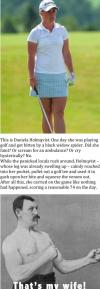 meme, manly woman, golf, black widow spider, story