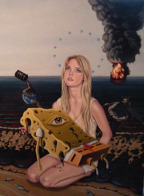 blond girl holding one eyed dead spongebob with an oil spill in the background