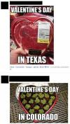 valentine's day, texas, colorado, meat, weed, marijuana, pot, heart