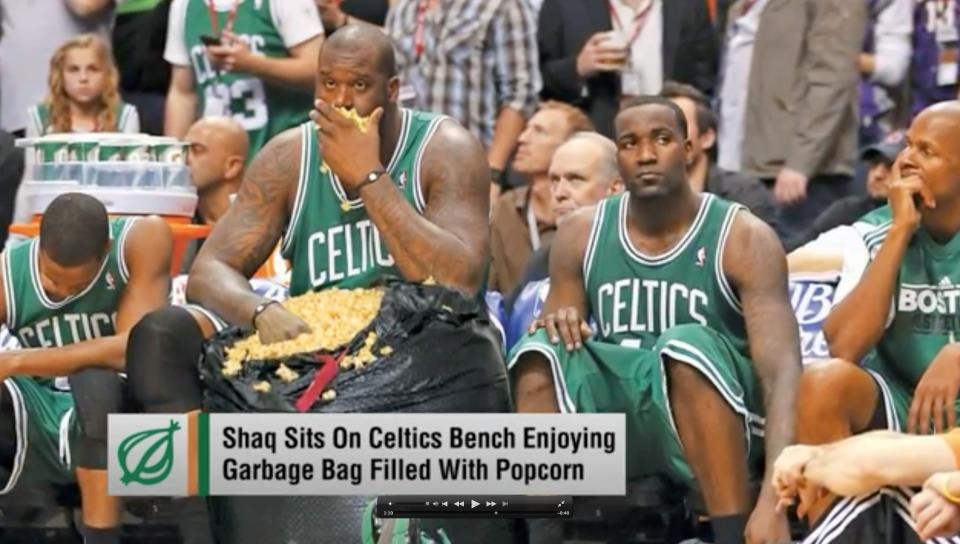 shaquille o'neil, popcorn, garbage bag