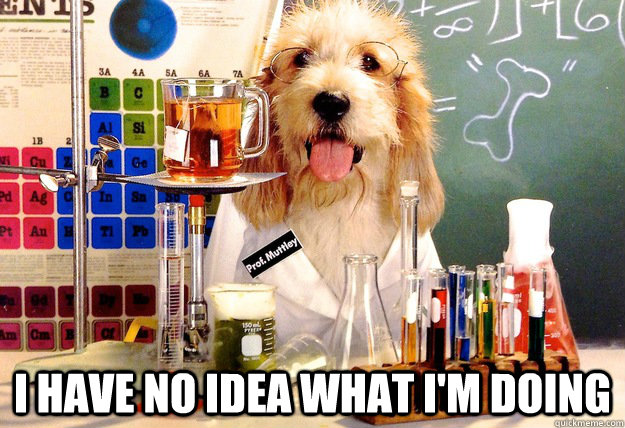 I have no idea what I'm doing, dog, meme, scientists