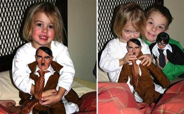 hitler doll, kid, fail