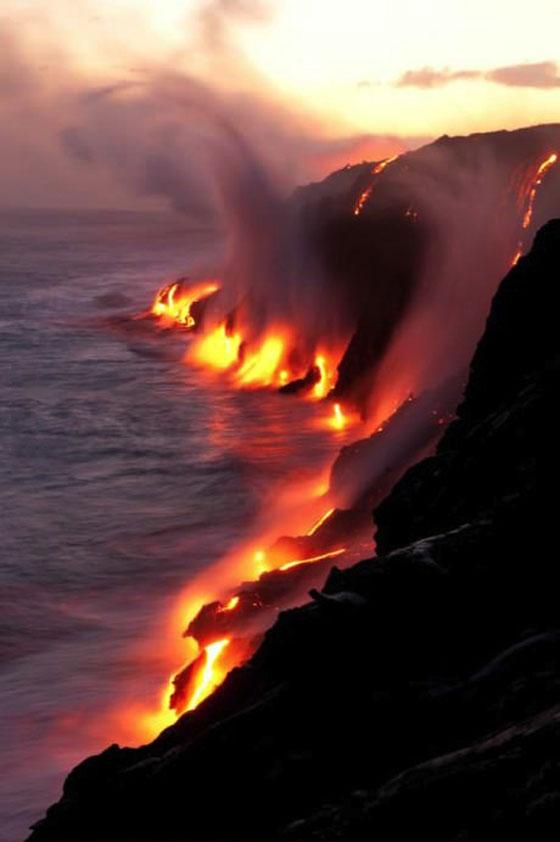 lava, hawaii, water, ocean, steam
