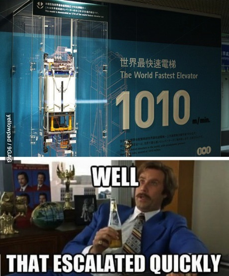 the world's fastest elevator, escalated quickly, will ferrell, elevator, new technology