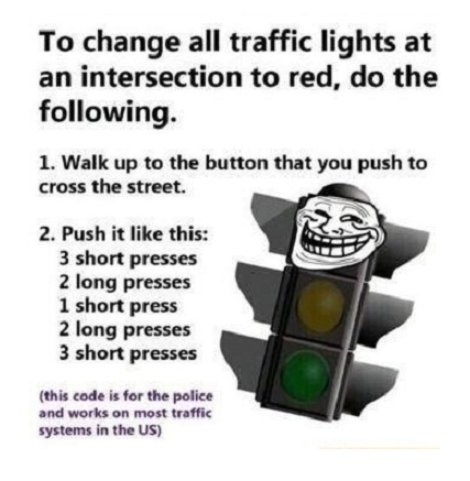 to change all traffic lights at an intersection to red, do the following, walk up to the button that you push to cross the street