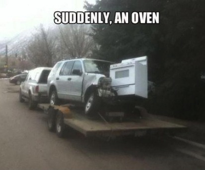 suddenly, oven, meme, accident, wtf, truck
