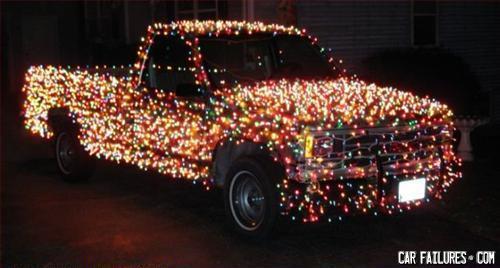 truck, christmas lights, wtf