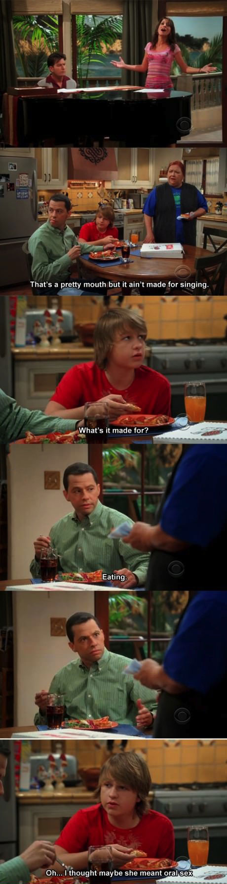two and a half men, comic, mouth, lol