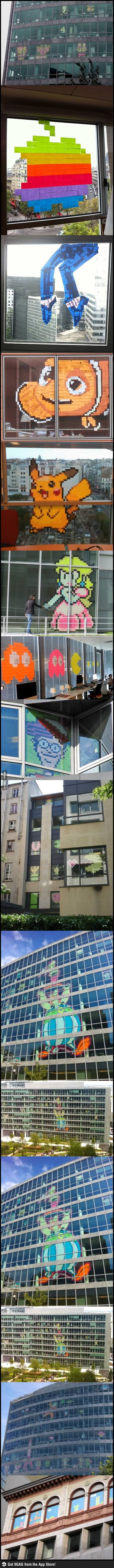 post-it wars, art, window, competition, long, compilation