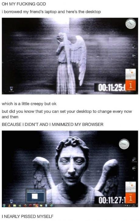 desktop background, image, change, scary, statue, angel