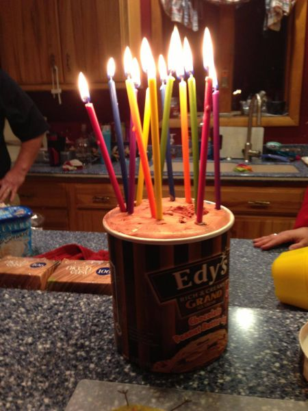 cake, lazy, ice cream, candles, birthday